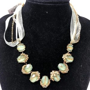 Charter Club Green Oval Rhinestones Necklace New